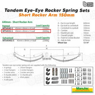 EYE-EYE Rocker Spring Set – 5 Leaf – Painted 2600kg per set Trailer Caravan Part