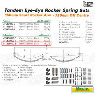 EYE-EYE Rocker Spring Set – Offset 6 Leaf – Galv. 2800kg per set Trailer Caravan