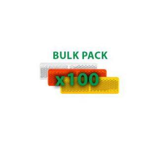 Manutec BULK PACK 100PCS – Amber Reflector Welded White Trailer Caravan Part