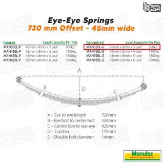 Manutec 3 Leaf Eye to Eye Spring – Galv – Off Set Trailer Caravan Spare Part
