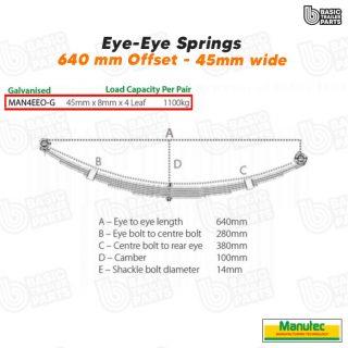 Manutec 4 Leaf Offset Eye to Eye Spring – Galvanised Trailer Caravan Spare Part