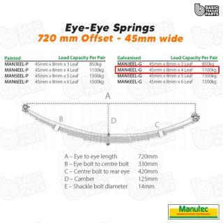 Manutec 4 Leaf Eye to Eye Spring – Galv – Off Set Trailer Caravan Spare Part