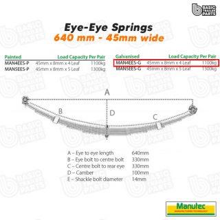 Manutec 4 Leaf Eye to Eye Spring – Galvanised Trailer Caravan Spare Part