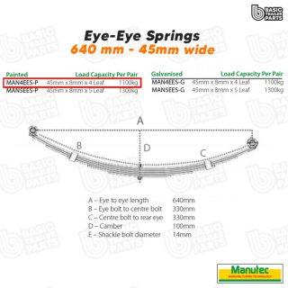 Manutec 4 Leaf Eye to Eye Spring – Painted Trailer Caravan Spare Part