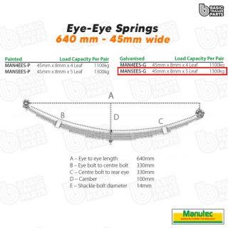 Manutec 5 Leaf Eye to Eye Spring – Galvanised Trailer Caravan Spare Part