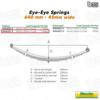 Manutec 5 Leaf Eye to Eye Spring – Painted Trailer Caravan Spare Part
