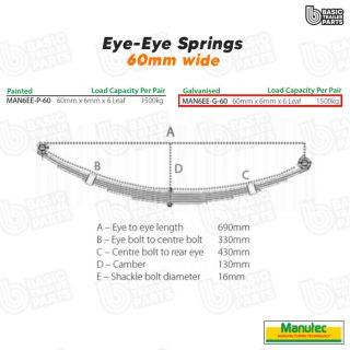 Manutec 6 Leaf Eye to Eye Spring 60mm- Galv – Off Set Trailer Caravan Spare Part