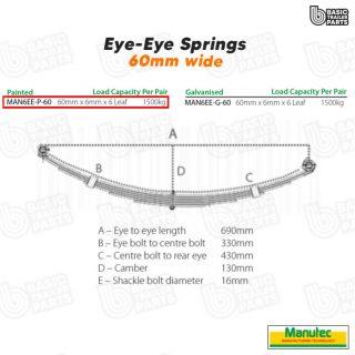 Eye to Eye Springs 6 Leaf Eye to Eye Spring 60mm – Painted – Off Set Trailer