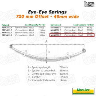 Manutec 6 Leaf Eye to Eye Spring – Galv – Off Set Trailer Caravan Spare Part