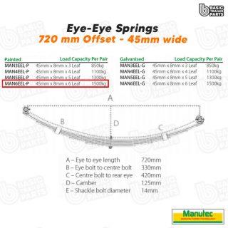 Manutec 6 Leaf Eye to Eye Spring – Painted – Off Set Trailer Caravan Spare Part