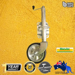 2021 Medium Jockey Wheel 8″ inch Rubber w/ Bearings & U-Bolt Bracket -Galv 700kg
