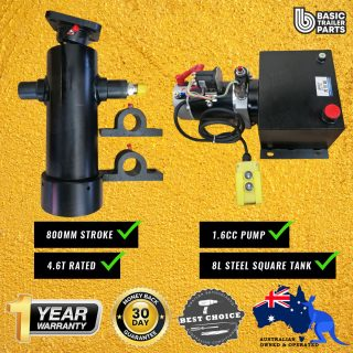 Tipper Trailer KIT-4 STAGE HYDRAULIC CYLINDER 800MM STROKE 4.6T RATED + 1.6CC PUMP 8LT
