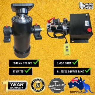 Tipper Trailer KIT-5 STAGE HYDRAULIC CYLINDER 1000MM STROKE 6T RATED  + 1.6CC PUMP 8LT