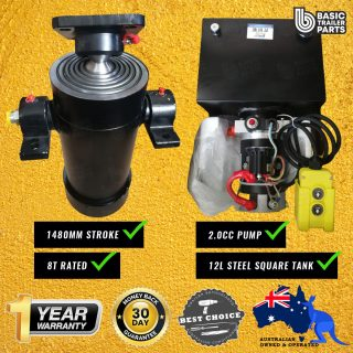 Tipper Trailer KIT-6 STAGE HYDRAULIC CYLINDER 1480MM STROKE 8T RATED + 2.0CC PUMP 12LT
