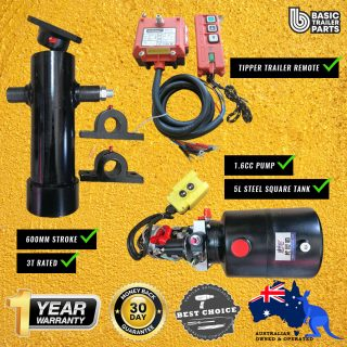 Tipper Trailer KIT-3 STAGE HYDRAULIC CYLINDER 600MM STROKE 3T RATED + 1.6CC PUMP 5LT With Remote